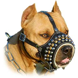 Handcrafted Comfortable Studs And Cones Leather K9 Dog  Muzzle