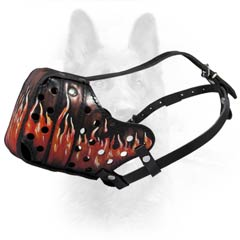 Handcrafted Flames Painted Leather K9 Dogs Muzzle