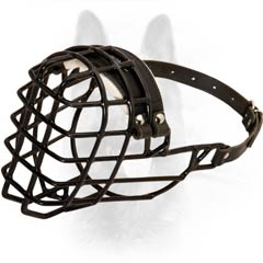 Frost-Resistant One Leather Strap Basket-like K9 Dog Muzzle