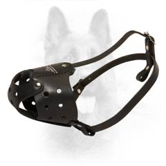 K9 Dogs Leather Muzzle Biting Impossible