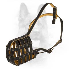 K9 Leather Net-Like Nappa Padded Muzzle For Obedience  Training