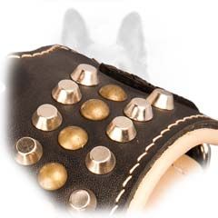 Unbelievable Studs And Cones Leather Padded K9 Dog  Muzzle