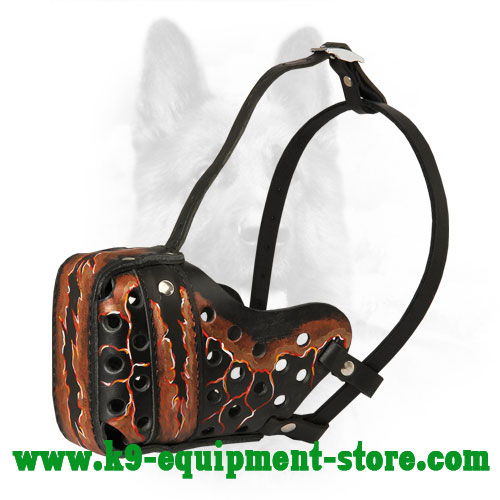 Well Ventilated Leather Canine Muzzle with Adjustable Straps