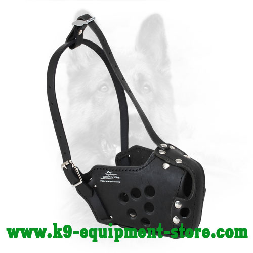 K9 Leather Muzzle with Holes for Good Air Circulation