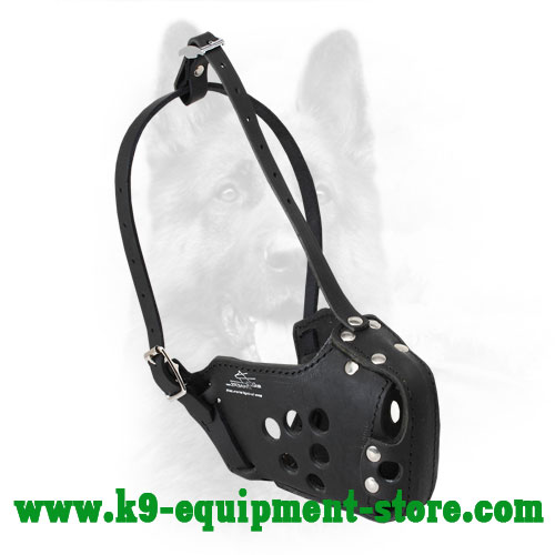 Leather Muzzle for Canine Protection Training