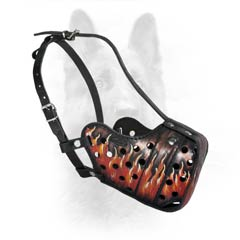 Colored With Fire Burning Image Leather Padded Police  (K9) Dog Muzzle