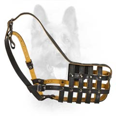 Every Day Patrolling K9 Dogs Leather Top Quality  Muzzle