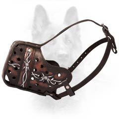 Biting Impossible Special Hand Painted Leather K9 Dogs  Muzzle